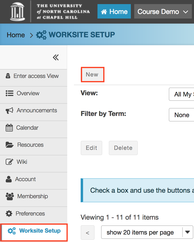 screenshot of worksite setup and new buttons