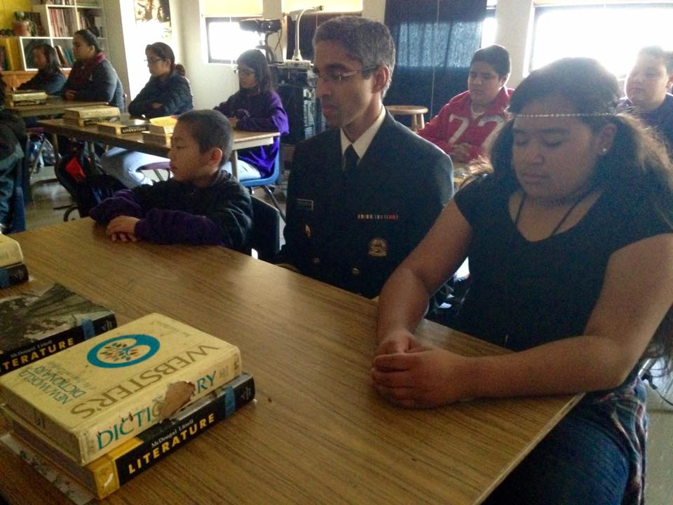 Surgeon General Vivek Murthy meditates with students at Visitacion Valley Middle School