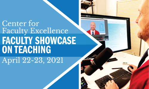 Faculty Showcase on Teaching April 22 and 23 banner features Carolina professor Kris Jordan editing on-screen video